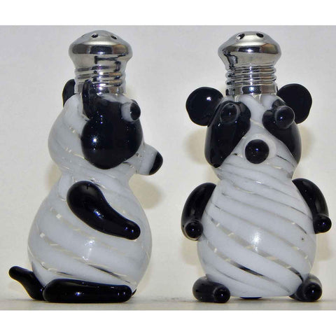 Four Sisters Art Glass Pandas Blown Glass Salt and Pepper Shaker 259 Artistic Handblown Art Glass