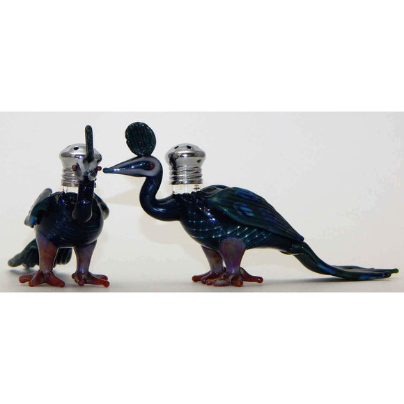 Four Sisters Art Glass Peacock Blown Glass Salt and Pepper Shaker 272 Artistic Glass Salt and Pepper Shakers
