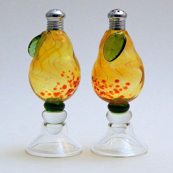 Four Sisters Art Glass Pedestal Pears 111 Salt and Pepper Shaker Artistic Glass Salt and Pepper Shakers