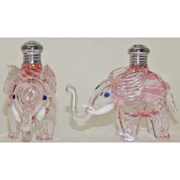 Four Sisters Art Glass Pink Elephant Blown Glass Salt and Pepper Shaker 265 Artistic Glass Salt and Pepper Shakers