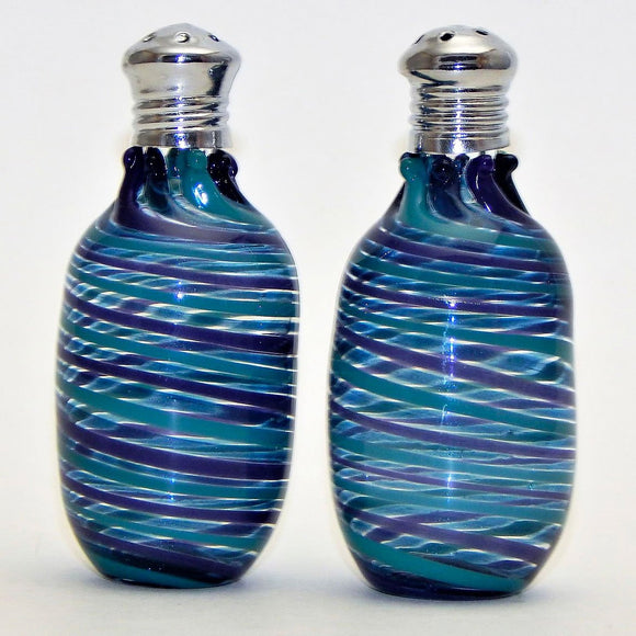 Four Sisters Art Glass Purple Blue and Green Cylinder 213 Salt and Pepper Shaker Artistic Glass Salt and Pepper Shakers