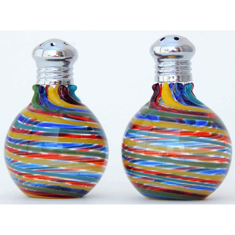 Four Sisters Art Glass Rainbow Blown Glass Salt and Pepper Shaker 314 Artistic Glass Salt and Pepper Shakers