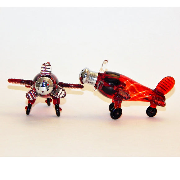 Four Sisters Art Glass Red Airplane 220 Salt and Pepper Shaker Artistic Glass Salt and Pepper Shakers