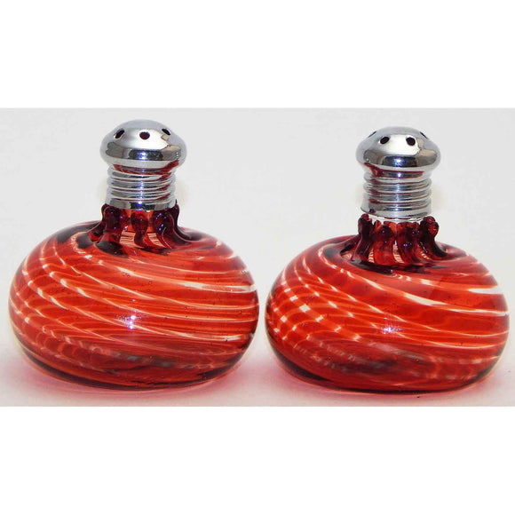 Four Sisters Art Glass Red Mini Blown Glass Salt and Pepper Shaker 300 Artistic Handblown Art Glass