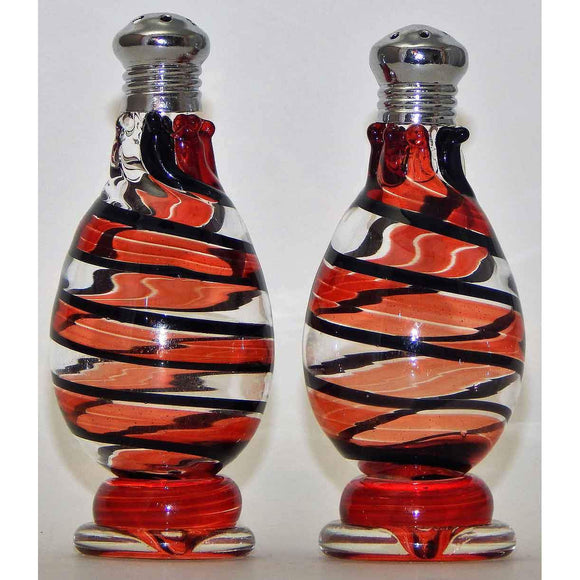 Four Sisters Art Glass Red Stripe Blown Glass Salt and Pepper Shaker 214 Artistic Glass Salt and Pepper Shakers