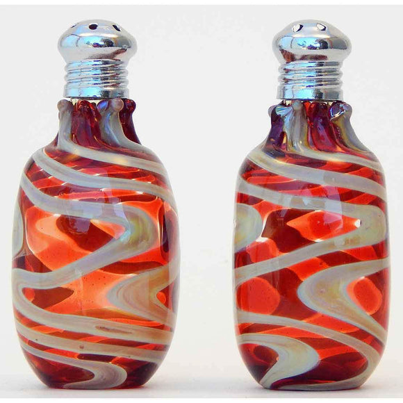 Four Sisters Art Glass Red and Cream Cylinder Blown Glass Salt and Pepper Shaker 212 Artistic Handblown Art Glass