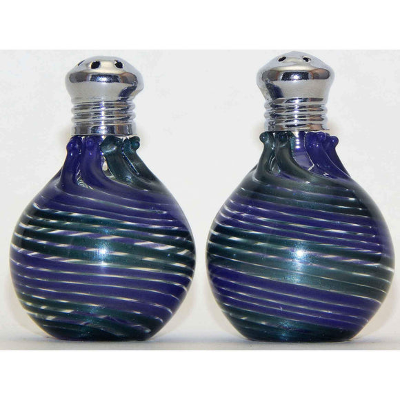 Four Sisters Art Glass Sparkle Green and Purple Blown Glass Salt and Pepper Shaker 315 Artistic Glass Salt and Pepper Shakers