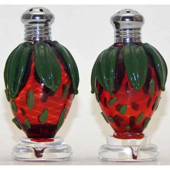 Four Sisters Art Glass Strawberry Blown Glass Salt and Pepper Shaker 210 Artistic Handblown Art Glass