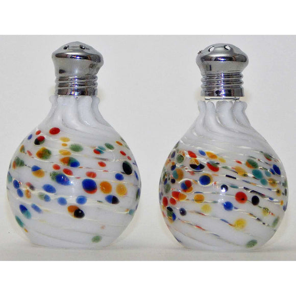 Four Sisters Art Glass White Multi Freckle Blown Glass Salt and Pepper Shaker 308 Artistic Handblown Art Glass