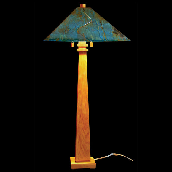 Franz GT Kessler Designs 1904 Mission Floor Lamp 4600-L2, Cherry Wood Floor Lamp, Blue Green Patina Copper Shade, Arts and Crafts, Artisan Lamps
