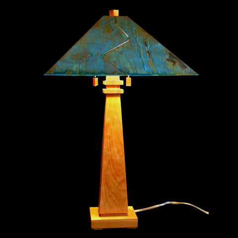 Franz GT Kessler Designs 1904 Mission White Oak Table Lamp 4600 with Acid Treated Blue Green Copper Shade