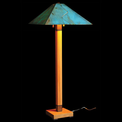 Franz GT Kessler Designs Chicago Floor Lamp 5700-L2, Hard Maple, Cherry, Walnut Wood Floor Lamp, Blue Green Patina Copper Shade, Mission, Arts and Crafts, Artisan Lamps