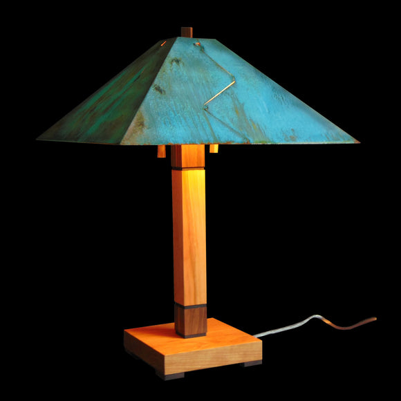 Franz GT Kessler Designs Chicago Table Lamp 5700-L1, Hard Maple, Cherry, Walnut Wood Table Lamp, Blue Green Patina Copper Shade, Mission, Arts and Crafts, Artisan Lamps