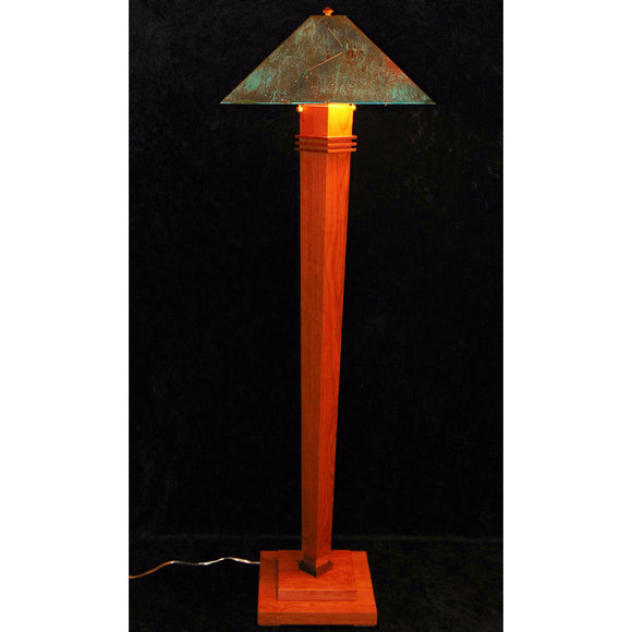 Half Moon Bay Floor Lamp 7200-L2 by Franz GT Kessler Designs, Cherry, Walnut Floor Lamp, Blue Green Patina Copper Shade, Mission, Arts and Crafts, Artisan Lamps