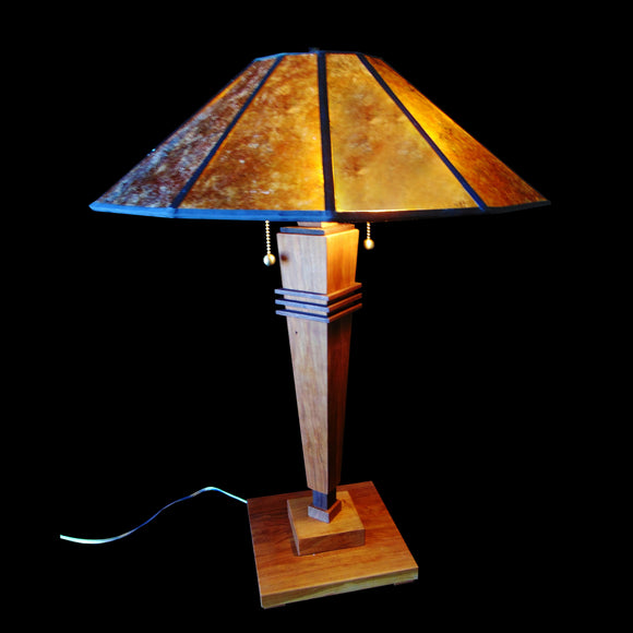 Franz GT Kessler Designs Half Moon Bay Table Lamp 7200-L1, Cherry, Walnut Table Lamp, Amber Mica Shade, Mission, Arts and Crafts, Artisan Lamps