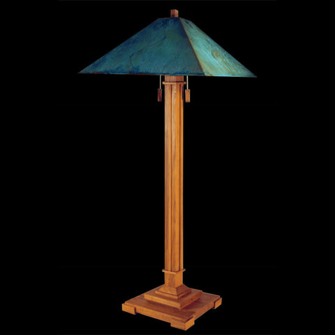 Franz GT Kessler Designs Pasadena Floor Lamp 1007-L3, Hard Maple Floor Lamp, Blue Green Patina Copper Shade, Mission, Arts and Crafts, Artisan Lamps