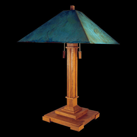 Franz GT Kessler Designs Pasadena Table Lamp 1007-L2, Hard Maple Table Lamp, Blue Green Patina Copper Shade, Mission, Arts and Crafts, Artisan Lamps