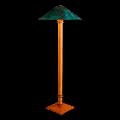 Franz GT Kessler Designs San Francisco Floor Lamp 7000-L4, Cherry, Walnut Floor Lamp, Blue Green Patina Copper Shade, Mission, Arts and Crafts, Artisan Lamps