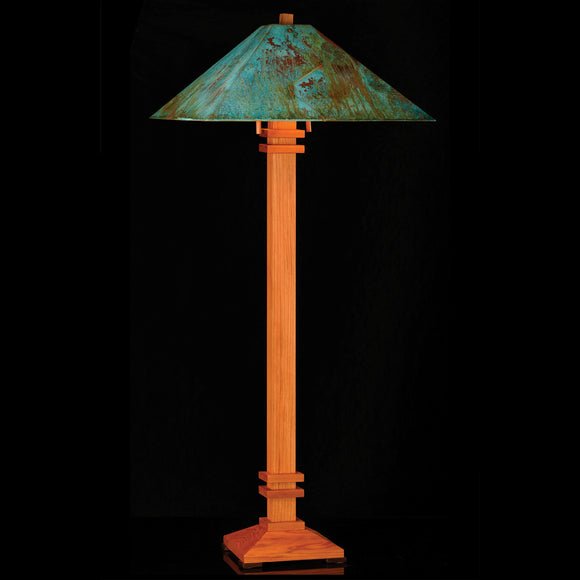 Franz GT Kessler Designs San Francisco Floor Lamp 7000-L4, Hard Maple, Cherry Floor Lamp, Blue Green Patina Copper Shade, Mission, Arts and Crafts, Artisan Lamps