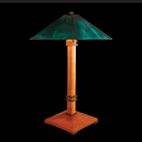 Franz GT Kessler Designs San Francisco Table Lamp 7000-L2, Cherry, Walnut Table Lamp, Blue Green Patina Copper Shade, Mission, Arts and Crafts, Artisan Lamps