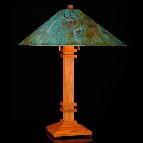 Franz GT Kessler Designs San Francisco Table Lamp 7000-L2, Hard Maple, Cherry Table Lamp, Blue Green Patina Copper Shade, Mission, Arts and Crafts, Artisan Lamps