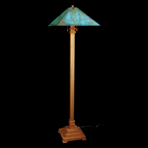 Franz GT Kessler Designs San Jose Floor Lamp 8000-L4, Hard Maple Floor Lamp, Blue Green Patina Copper Shade, Mission, Arts and Crafts, Artisan Lamps
