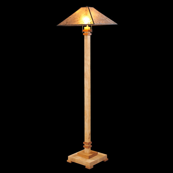 Franz GT Kessler Designs San Jose Floor Lamp 8000-L4, Hard Maple, Cherry Floor Lamp, Amber Mica Shade, Mission, Arts and Crafts, Artisan Lamps
