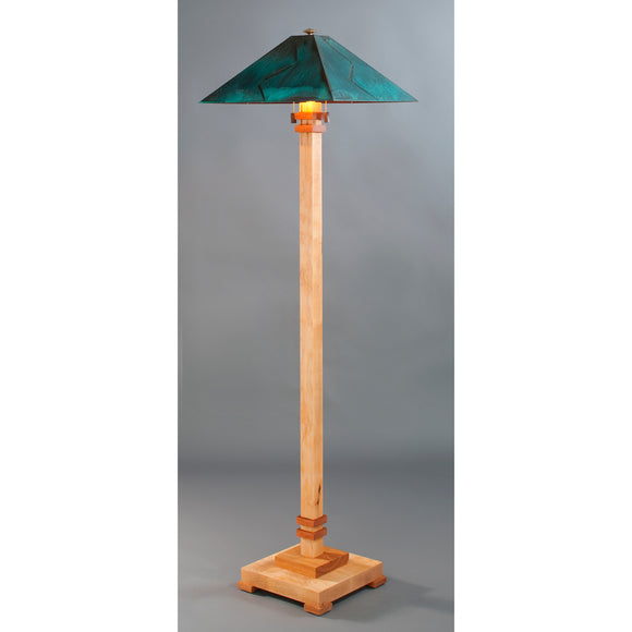 Franz GT Kessler Designs San Jose Floor Lamp 8000-L4, Hard Maple, Cherry Floor Lamp, Blue Green Patina Copper Shade, Mission, Arts and Crafts, Artisan Lamps