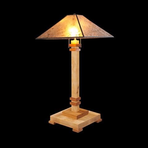 Franz GT Kessler Designs San Jose Table Lamp 8000-L2, Hard Maple, Cherry Table Lamp, Amber Mica Shade, Mission, Arts and Crafts, Artisan Lamps