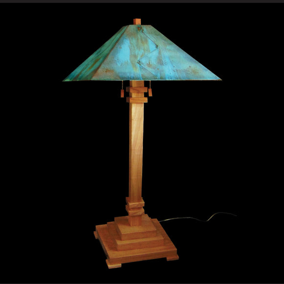 Franz GT Kessler Designs San Jose Table Lamp 8000-L2, Hard Maple Table Lamp, Blue Green Patina Copper Shade, Mission, Arts and Crafts, Artisan Lamps