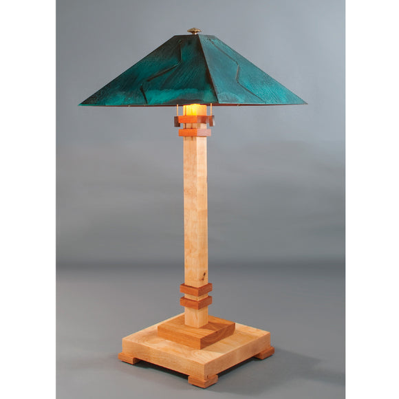 Franz GT Kessler Designs San Jose Table Lamp 8000-L2, Hard Maple, Cherry Table Lamp, Blue Green Patina Copper Shade, Mission, Arts and Crafts, Artisan Lamps