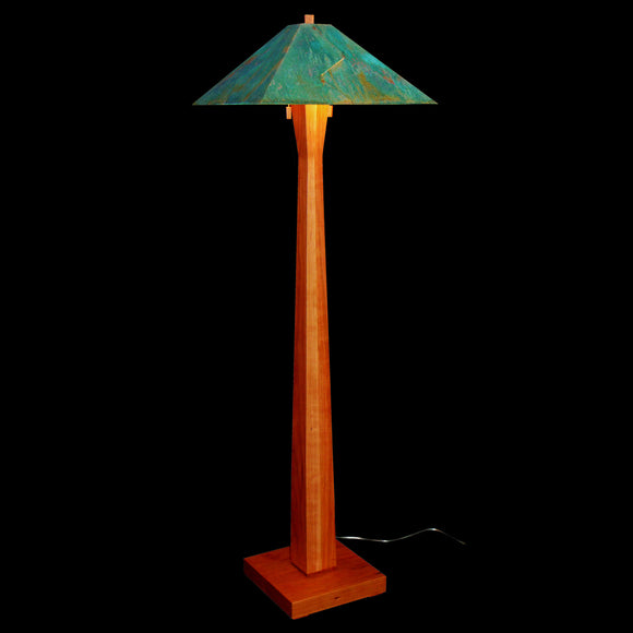 Franz GT Kessler Designs Santa Rosa Floor Lamp 3300-L3, Cherry Floor Lamp, Blue Green Patina Copper Shade, Mission, Arts and Crafts, Artisan Lamps