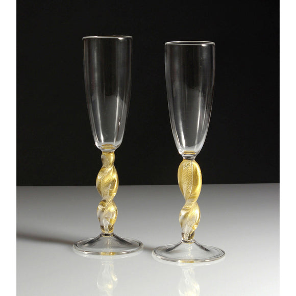 Frost Glass Clear And Gold Champagne Glasses Artistic Functional Artisan Handblown Art Glass