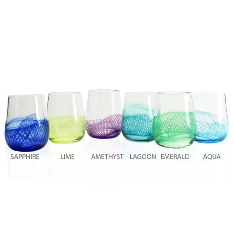 Frost Glass Color Splash Stemless Wine Glass Artistic Functional Artisan Handblown Art Glass