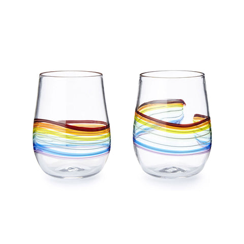 Frost Glass Rainbow Stemless Wine Glasses Artistic Functional Artisan Handblown Art Glass
