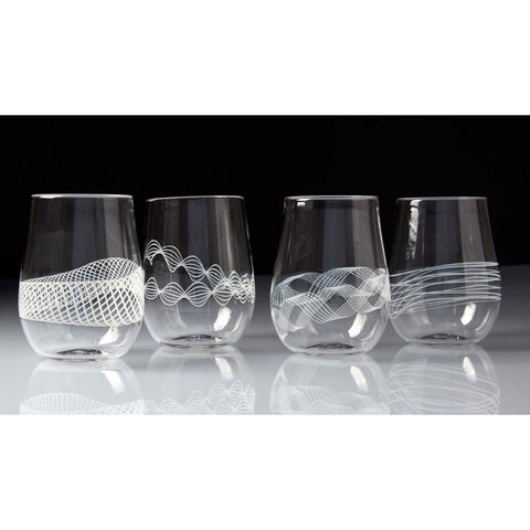 Frost Glass White Spiro Stemless Wine Glasses Artistic Functional Artisan Handblown Art Glass