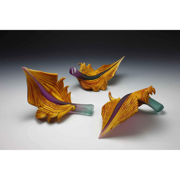 Gartner Blade Arbor Leaves in Amethyst and Sage Hand Blown American Art Glass Sculptures