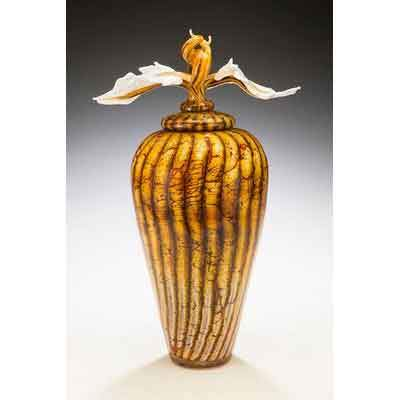 Gartner Blade Batik Covered Jar with Avian Finial Hand Blown American Art Glass