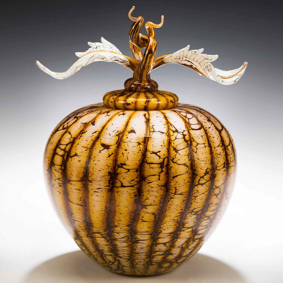 Gartner Blade Batik Covered Sphere with Avian Finial Hand Blown American Art Glass