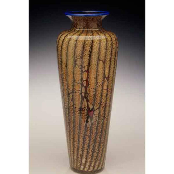 Gartner Blade Batik Traditional Urn Vase Hand Blown American Art Glass Vases