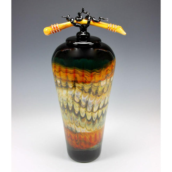 Gartner Blade Covered Jar with Tied Bone Finial in Black and Tangerine Hand Blown American Art Glass