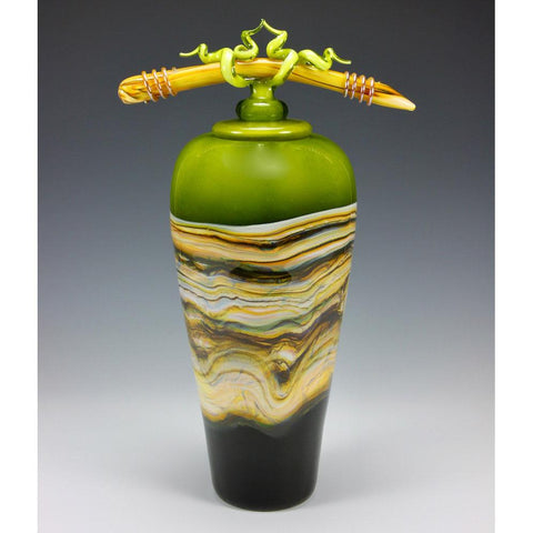 Gartner Blade Lime Strata Covered Vessel with Tied Bone Finial in Lime Hand Blown American Art Glass