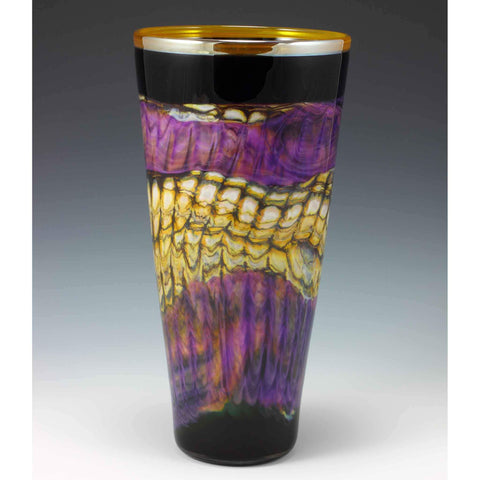 Gartner Blade Opal Cone Vase in Amethyst Hand Blown American Art Glass Vases