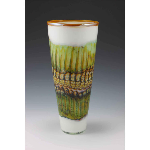 Gartner Blade Opal Cone Vase in White Hand Blown American Art Glass Vases