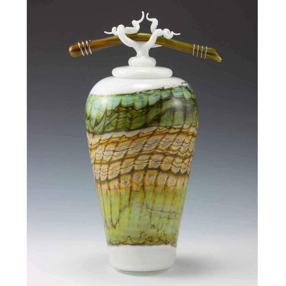 Gartner Blade Opal Covered Jar Hand Blown American Art Glass