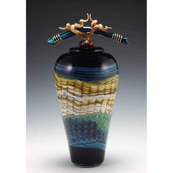 Gartner Blade Opal Covered Jar in Black and Turquoise Hand Blown American Art Glass