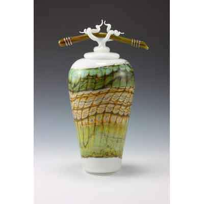 Gartner Blade Opal Covered Jar with Bone and Tendril Finial Hand Blown American Art Glass