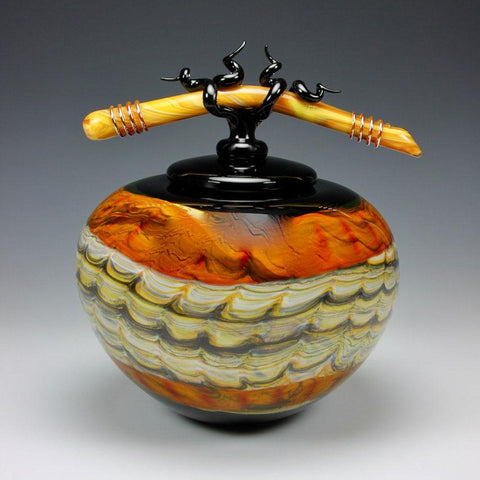 Gartner Blade Opal Covered Sphere Jar with Tied Bone Finial in Black and Tangerine Hand Blown American Art Glass