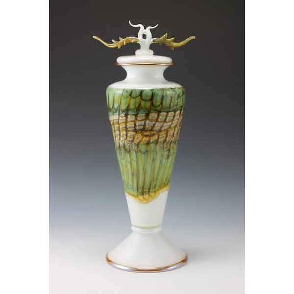Gartner Blade Opal Covered Vessel with Avian Finial in White Hand Blown American Art Glass