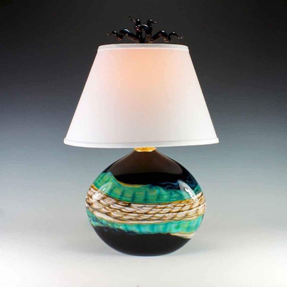Gartner Blade Opal Flat Table Lamp in Black Hand Blown American Art Glass Lamps
